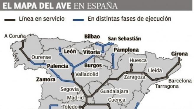 Mapa del AVE en España.