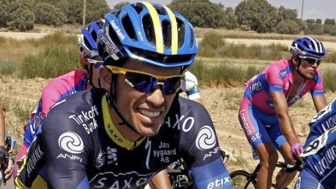 El ciclista del Saxobank Alberto Contador durante el desarrollo de la Vuelta.