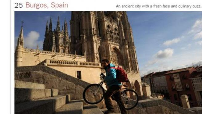 La ciudad de Burgos figura en el puesto número 25 del ranking de 'The New York Times' de lugares para visitar en 2013.