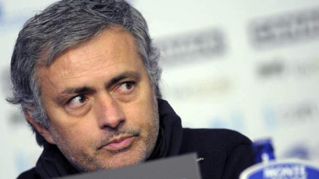 El entrenador del Real Madrid, José Mourinho, en una rueda de prensa.