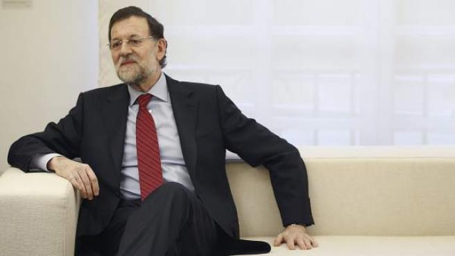El presidente del Gobierno, Mariano Rajoy, durante su reunión con el secretario de Defensa de Estados Unidos, Leon Panetta.