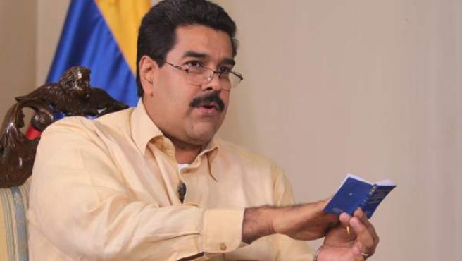 El vicepresidente venezolano, Nicolás Maduro, durante una entrevista en Caracas (Venezuela).