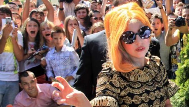 Lady Gaga, durante su visita en agosto de 2012 a Bucarest.