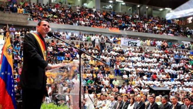 Henrique Capriles, durante el acto de posesión como gobernador del estado Miranda, el miércoles 16 de enero del 2013, en Caracas (Venezuela).