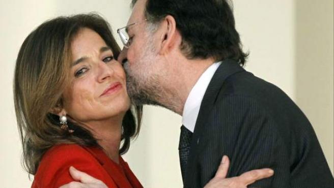 Ana Botella, saludando a Mariano Rajoy, el pasado miércoles.