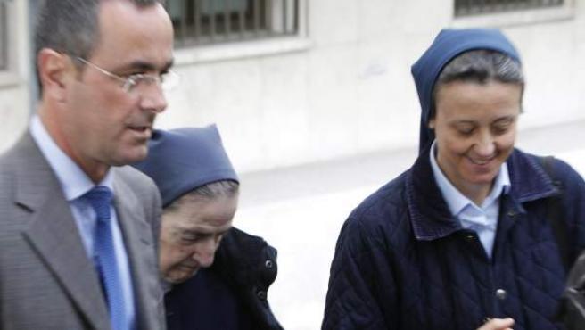 Sor María Gómez Valbuena, a su llegada a los juzgados de la Plaza de Castilla.