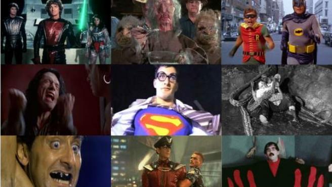 'Star Crash', 'Troll 2', 'Batman' (1966), 'The Room', 'Superman Donuyor', 'La novia del monstruo', 'Undefeatable', 'Street Fighter: La última batalla' y 'Manos: The Hands of Fate' (de izquierda a derecha y de arriba abajo).