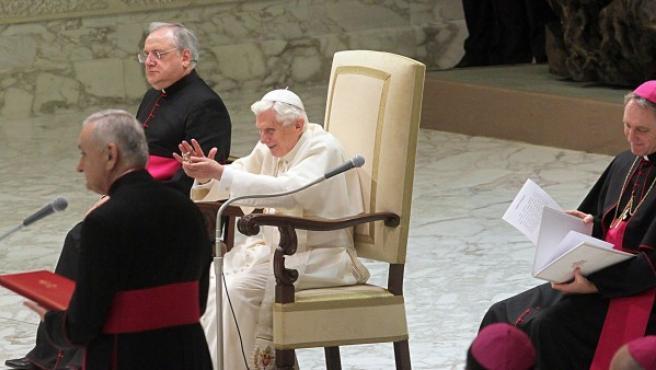 Benedicto XVI en la audiencia general en el salón Pablo VI del Vaticano este 23 de enero de 2013.