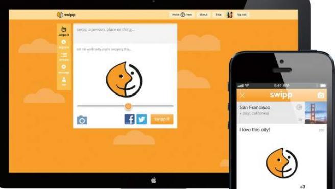 Un teléfono inteligente y una pantalla con imágenes de la plataforma de la red social Swipp.