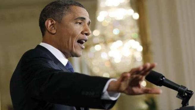 Obama en una rueda de prensa en la Casa Blanca.