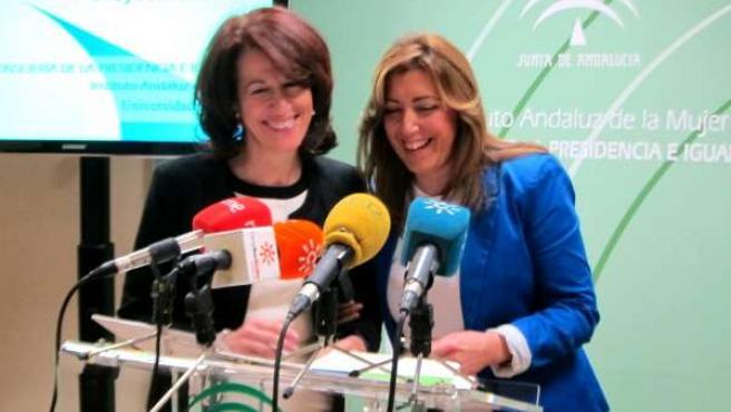 La consejera de Presidencia, Susana Díaz, hoy en rueda de prensa