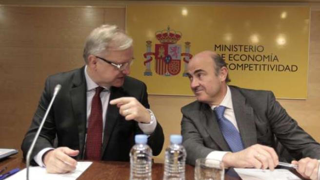 Luis de Guindos y Olli Rehn en Madrid
