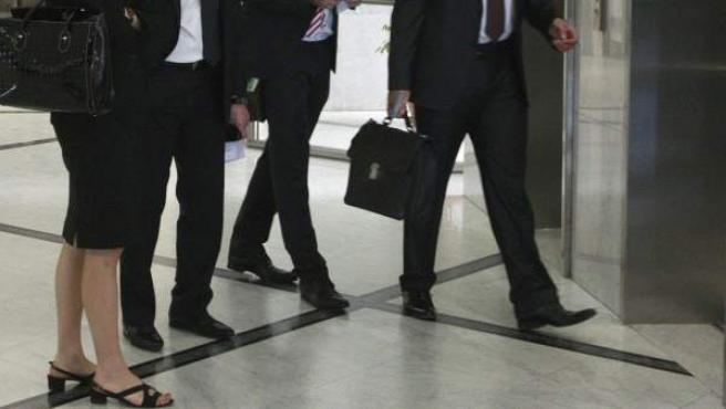 Representantes del FMI, del BCE y de la Comisión Europea durante una de sus visitas a Atenas.