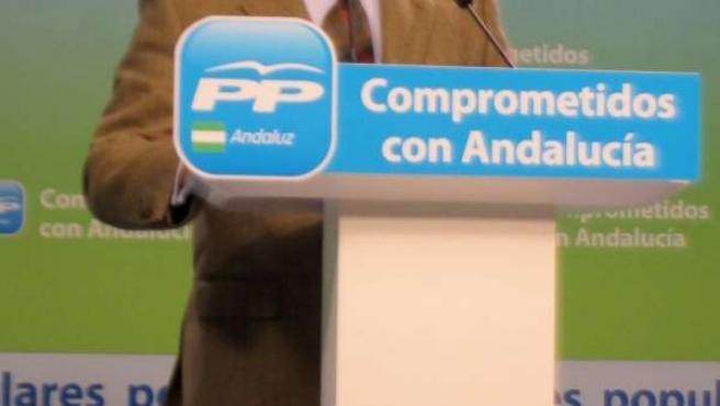 El presidente del PP-A, Juan Ignacio Zoido, hoy en rueda de prensa