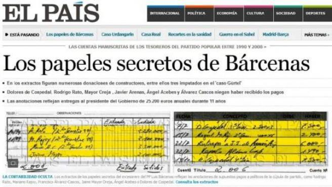 Captura de la información de 'El País' sobre los pagos secretos de Bárcenas a los líderes del PP.