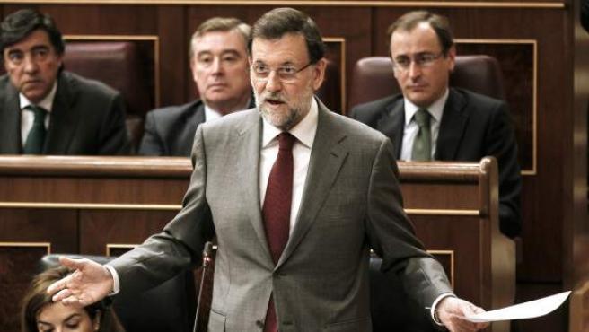 El presidente del Gobierno, Mariano Rajoy, durante su intervención de este miércoles.