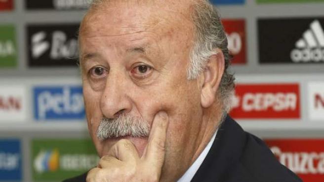 El seleccionador nacional de fútbol, Vicente del Bosque, durante una rueda de prensa.