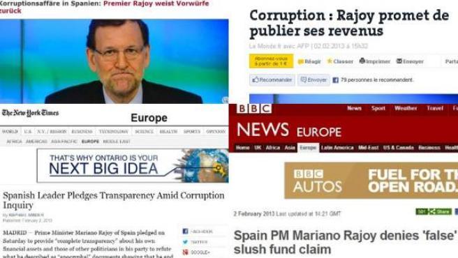 Titulares de cuatro medios de comunicación internacionales que recogen en su edición online el discurso de Rajoy sobre el 'caso Bárcenas'.