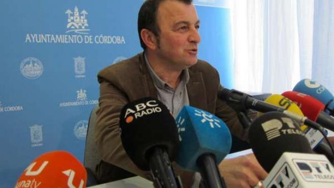 Francisco Tejada (IU), en la rueda de prensa