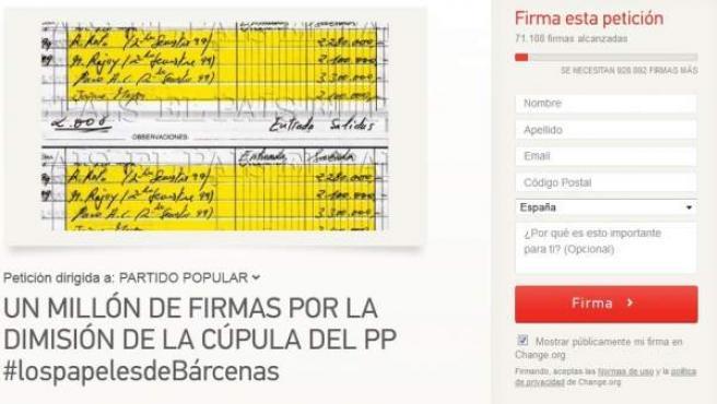 """Petición dirigida al PP: """"Un millón de firmas por la dimisión de la cúpula del PP"""""""