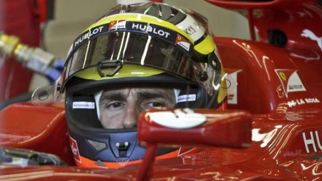 El piloto español de Ferrari, Pedro Martínez de la Rosa, durante unos entrenamientos de Jerez.