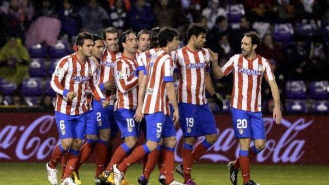 Los jugadores del Atlético de Madrid, celebrando un gol.