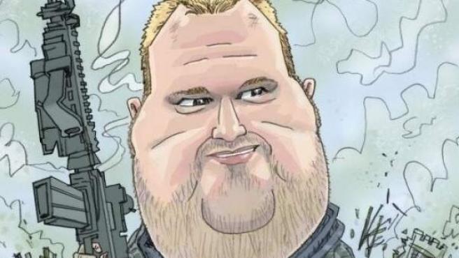 Caricatura de Kim Dotcom, fundador de Megaupload y Mega, que parodia el videojuego 'Call of Duty: Modern Warfare'.
