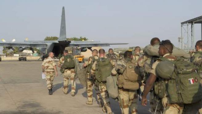 Soldados franceses, durante el despliegue militar en Mali, solicitado por la ONU.