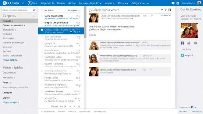 Pantalla de Outlook en su versión de escritorio.