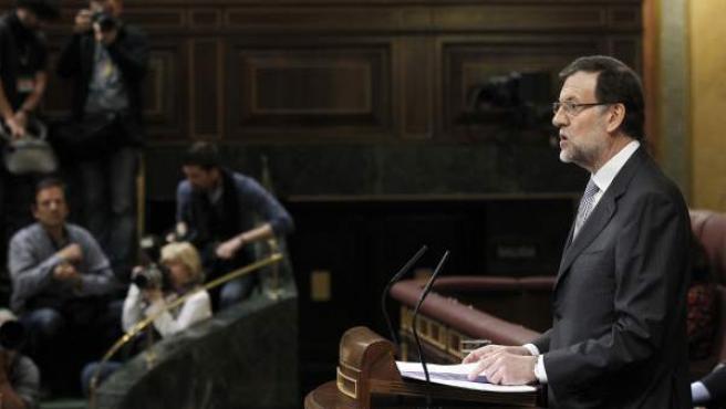 El presidente del Gobierno, Mariano Rajoy, durante su intervención en su primer debate sobre el estado de la nación al frente del Ejecutivo.