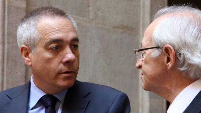 El primer secretario del PSC, Pere Navarro, junto al presidente de la Cámara de Comercio de Barcelona, Miquel Valls.