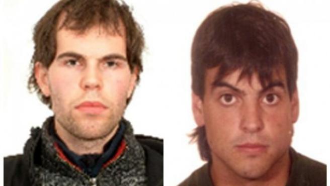 Fotografía facilitada por el Ministerio del Interior de los dos presuntos etarras, Oier Ibarguren Sarasola (i) y Montxo Arkaiz Varea Echevarría (d), que han sido detenidos.