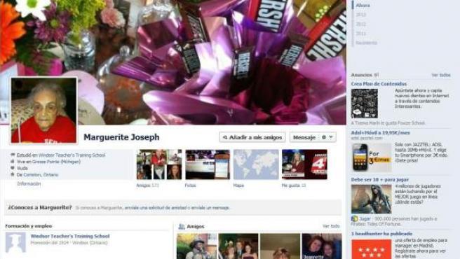 Cuenta de Facebook de Marguerite Joseph, de 104 años.
