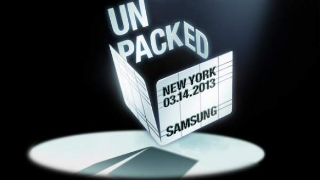 Cartel del evento de Samsung del 14 de marzo.