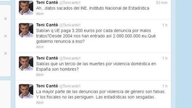 Mensajes de Toni Cantó sobre la violencia de género en la red social Twitter.