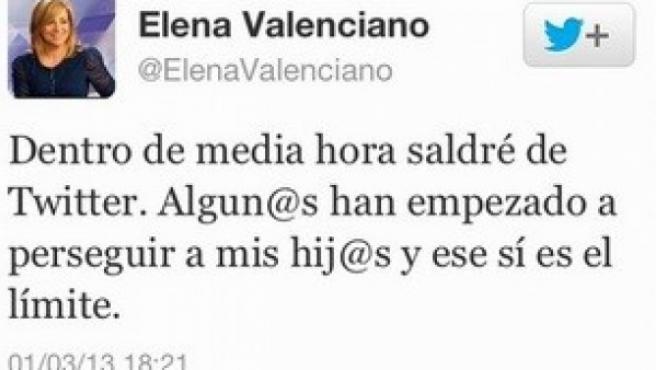 """Elena Valenciano deja Twitter por la """"persecución"""" que sufren sus hijos."""
