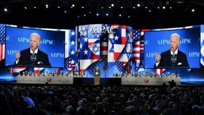 El vicepresidente de EE UU, Joe Biden, da un discurso durante el Comité Estadounidense de Asuntos Públicos de Israel (AIPAC) celebrado en Washington.