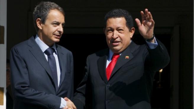 José Luis Rodríguez Zapatero y Hugo Chávez, en el Palacio de la Moncloa el 14 de septiembre de 2009.