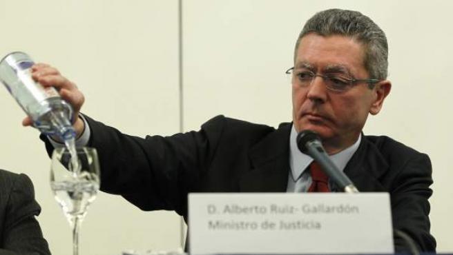 El ministro de Justicia, Alberto Ruiz-Gallardón, durante la clausura del XX Congreso Nacional de la Asociación Profesional de la Magistratura (APM).