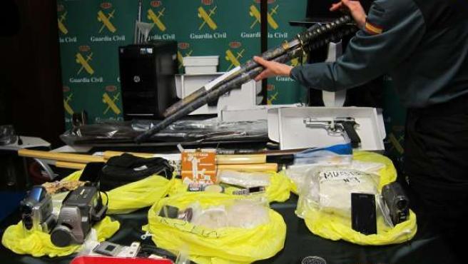 Material incautado a banda venta de heroína en Valdejalón