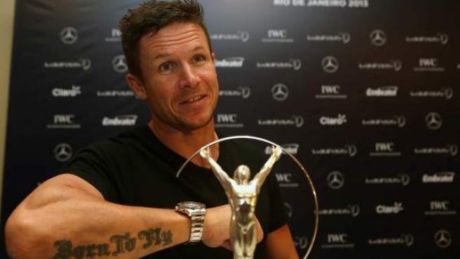 El deportista Felix Baumgartner en la rueda de prensa de los Premios Laureus.
