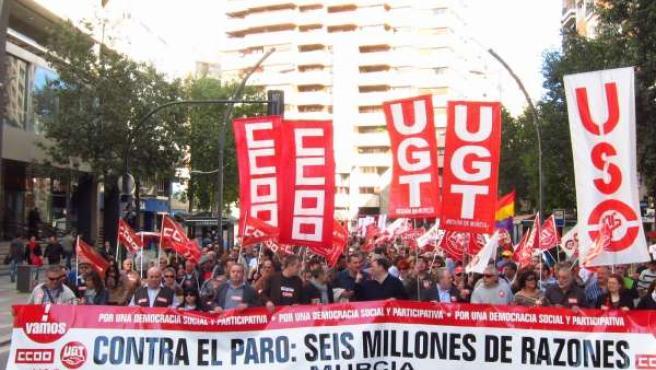 Manifestación contra el paro en Murcia