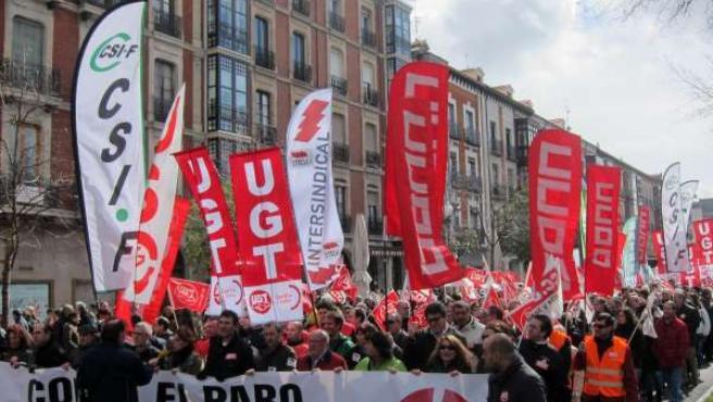 Imagen de la cabecera de la manifestación en Valladolid