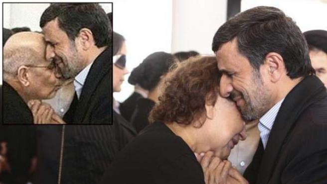 El presidente de Irán, Mahmoud Ahmadineyad, está en medio de una nueva controversia sobre fotos reales y trucadas que lo muestran consolando a la madre del difunto presidente venezolano Hugo Chávez. A los hombres musulmanes se les prohíbe tocar a las mujeres que no son miembros de su familia cercana.