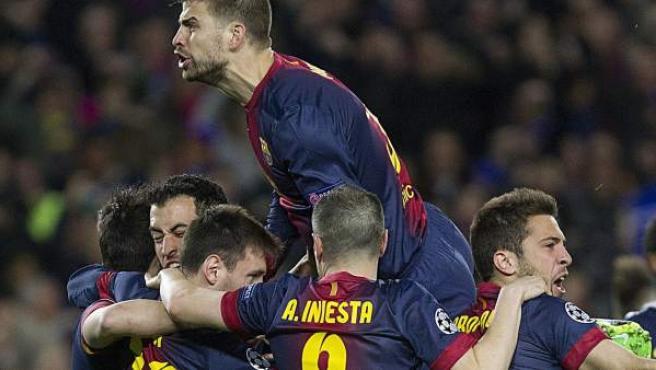 El Barça celebra la victoria.