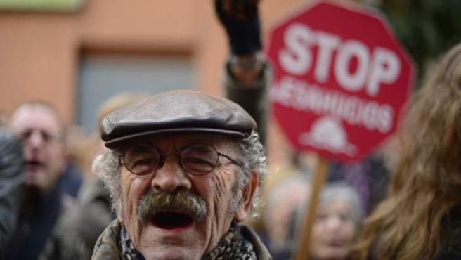Protesta en Barcelona contra los desahucios.