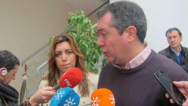 Juan Espadas con la consejera de Presidencia e Igualdad, Susana Díaz