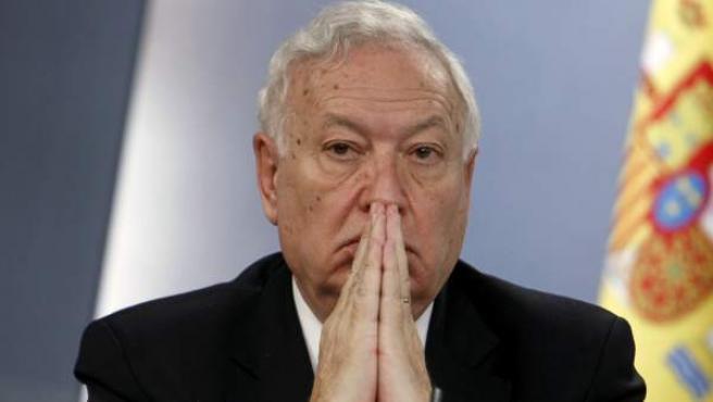 El ministro de Asuntos Exteriores, José Manuel García-Margallo, en rueda de prensa tras una reunión del Consejo de Ministros.