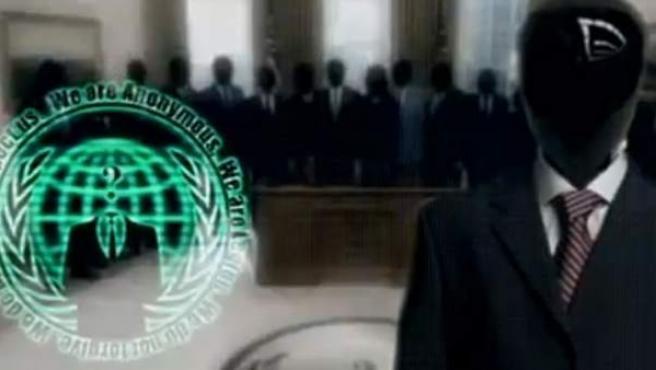 Imagen del vídeo colgado por activistas de Anonymous donde reivindican haber 'hackeado' una web oficial del Gobierno de EE UU en respuesta por la muerte de Aaron Swartz.