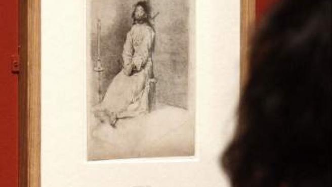 La obra de Francisco de Goya, 'El agarrotado', forma parte de los dibujos de artistas españoles conservados en el British Museum que se exhiben en la exposición 'El trazo español en el British Museum' del Museo del Prado.